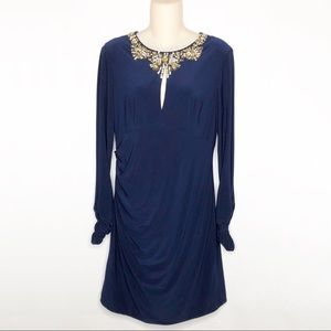 Vince Camuto | Navy Ruched Jeweled Dress